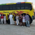 Sihem Souid avec des journalistes en voyage de Presse au Qatar